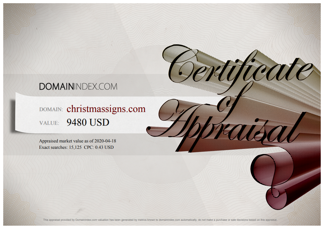 ChristmasSigns.com Appraisal